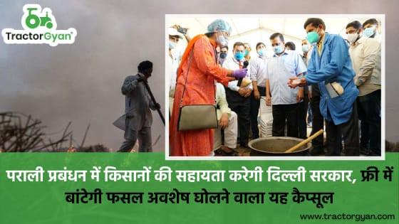 किसानों की सहायता करेगी दिल्ली सरकार, फ्री में बांटेगी फसल अवशेष घोलने वाला यह कैप्सूल।