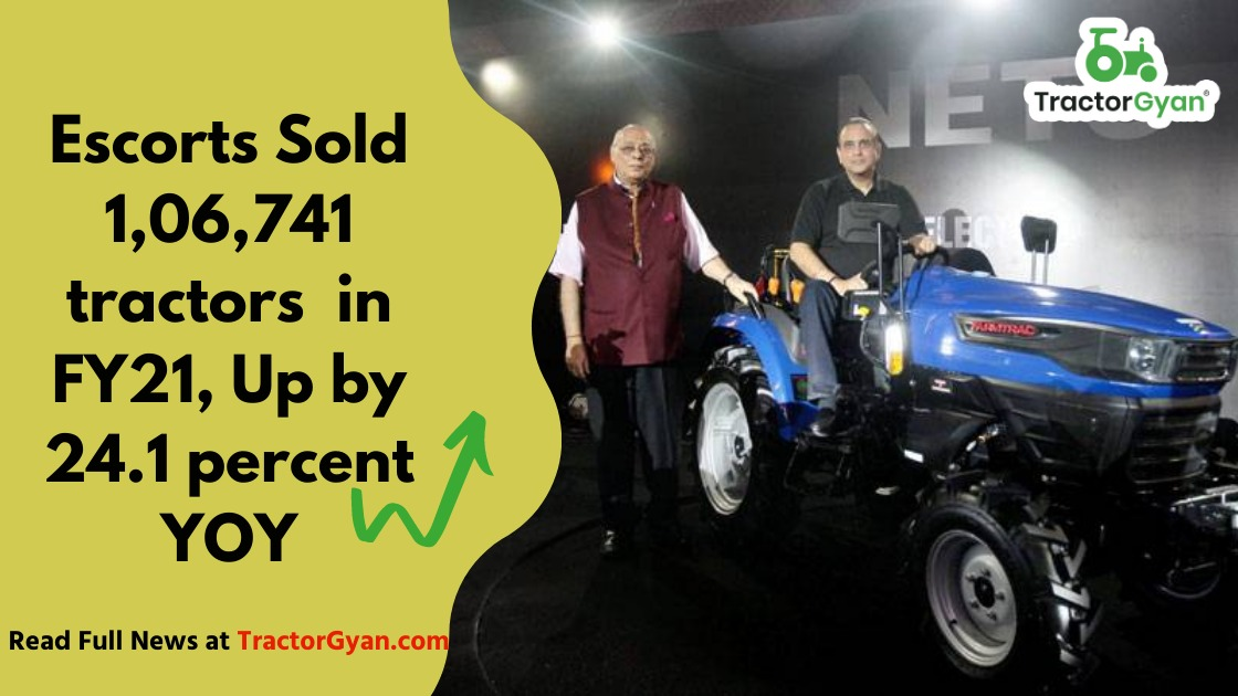 Escorts Sold 1,06,741 tractors  in FY21, up by 24.1 percent YoY