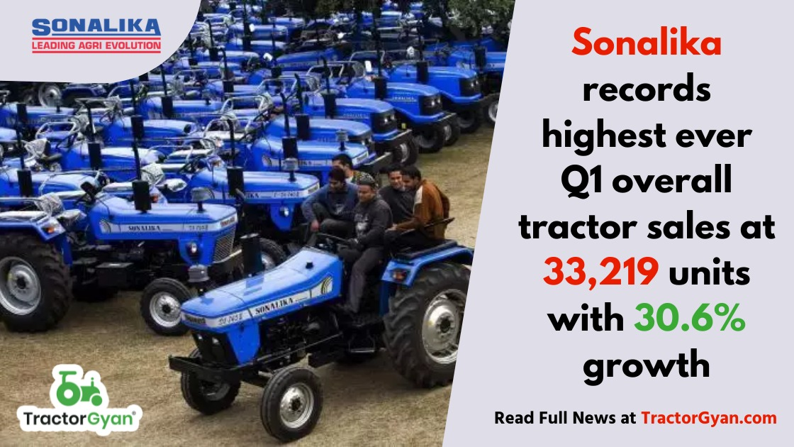 Sonalika records highest ever Q1 overall tractor sales at 33,219 units with 30.6 percent growth