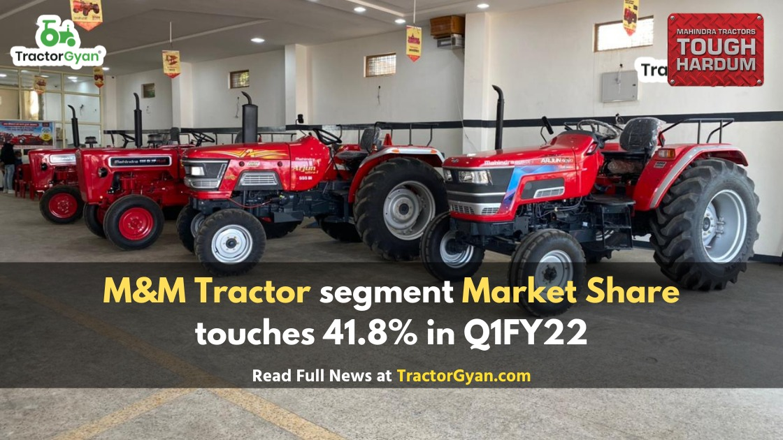 M&M tractor segment market share touches 41.8% in Q1FY22, highest in the last 8 quarters